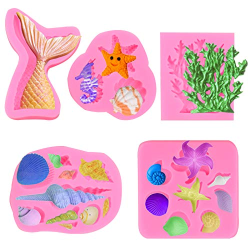 Zezzxu Marine Tail Fondant Silicone Molds, Seashell Conch Seahorse Coral Starfish Conch Sea Shapes, Cake Baking Decorating Tools for Fondant Chocolate Candy Cupcake Decoration (5 Pack)