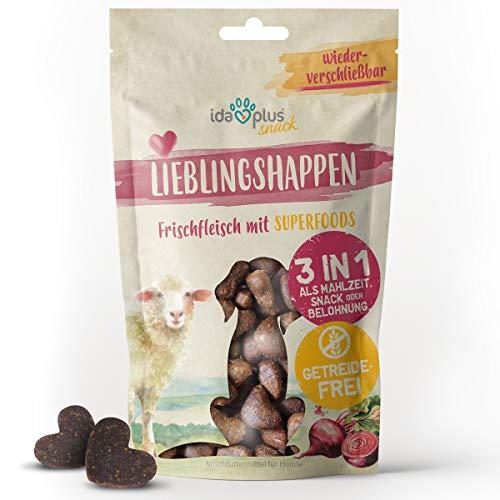 Ida Plus Lieblingshappen - 3 in 1 Hundeleckerli getreidefrei, zuckerfrei & mit viel Fleisch (Fisch & Lamm) - ideales Trainingsleckerli für Hunde - besonders saftige & kleine Hundesnacks - 250 g