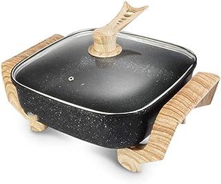 FUDIV Que no se pegue Wok eléctrico de múltiples Funciones del hogar Cocina eléctrica Electro-Calentador de Vapor Olla de Cocina Barbacoa Una Olla, 7L, 1300W, Negro