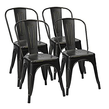 Furmax Metal Dining Chairs Distressed Black Golden Indoor/Outdoor Use Stackable Dining Bistro Cafe Side Chairs(Set of 4)