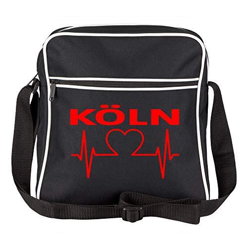 Schultertasche Köln Herz - Herzschlag - Puls schwarz - Köln Kölner Fußball Tasche Fanartikel