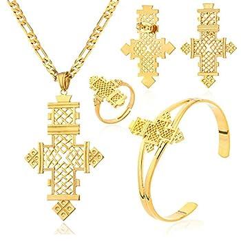Ethiopian Cross Jewelry Sets Gold Color Wedding Party Sets for Ethiopian & Eritrean Women