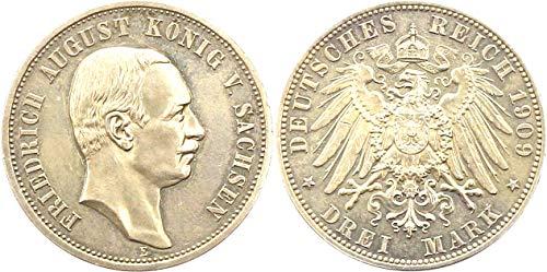 orig. Silbermünze Dt. Kaiserreich 3 Mark 1909 E Sachsen