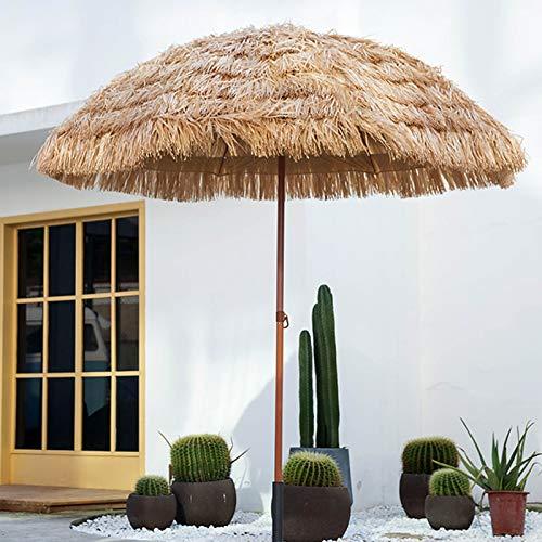 FACC Sombrilla De Paja Playa, Sombrilla De Paja, Sombrilla Terraza Grande, Sombrillas Terraza, con Inclinable, Anti-UV, Parasol Jardin, para Jardín Exterior Y Terraza Cafetería 2,4m