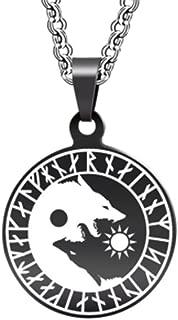 Unisex Metallic Viking Pendant Necklace for Men Jewelry Black Leather Viking Metal Chain Scandinavian Necklace