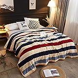 YJJSL Manta de Franela Engrosada con Rayas de Invierno cálido para la Siesta/Sofá/Manta de Cubierta de Dormitorio (Size : 120cmX200cm)