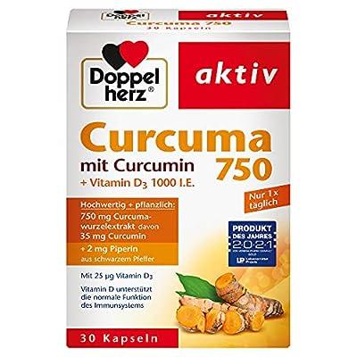 Doppelherz Curcuma 750 mit Curcumin + Vitamin D3 1000 I.E. – mit Vitamin D als Beitrag für die normale Funktion des Immunsystems – 1 x 30 Kapseln