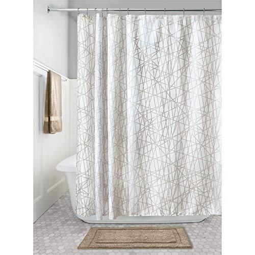 InterDesign Abstract Cortinas para baño de tela | Cortina de ducha lavable a máquina con 12 ojales | Cortina de baño con motivo abstracto | 183 x 183 cm | Poliéster beis/blanco