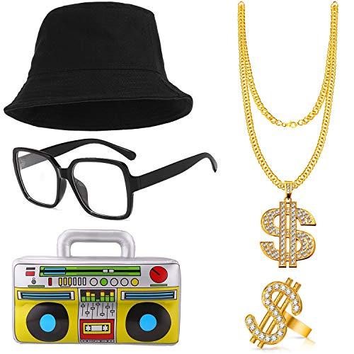 cappello 80 anni BIQIQI Kit di Costumi Hip Hop Anni '80 'Accessori Rapper per Uomo degli Cappello a Secchiello Collana con Anello a Catena con Simbolo del Dollaro in Oro Boom Box Occhiali