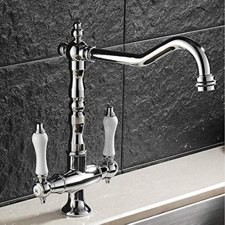 Lddpl Wasserhahn Moderner Stil 360-Grad-Schwenker Küchenarmatur Messing Chrom Doppelgriff Deck Montiert Küchenarmatur
