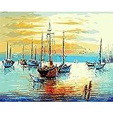 AGjDF Paysage de mer de bateauPaysage de mer de bateau5D DIY numérique Toile peinture_PréimpressionToile_Bricolage numérique pour Enfants Adultes Peindre par Nombre Kits_—40x50cm sin Marco