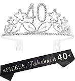 40th Birthday Gifts for Woman, 40th Birthday Tiara and Sash Silver, Happy 40th Birthday Party Supplies, Fierce, Fabulous 40 Sash and Crystal Tiara Birthday Crown for 40th Birthday Party Supply