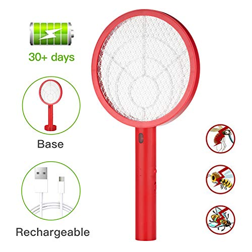 Electric Bug Zapper Fly Swatter Zap Mosquito for Indoor and Outdoor Pest Control, Powerful 4000V Grid, USB Rechargeable, LED Lighting w/Base, 3 Layers Mesh Safety Protection Safe to Touch