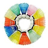 VORCOOL 12pcs bádminton pluma de nylon de entrenamiento deportes al aire libre formación de volantes de plástico