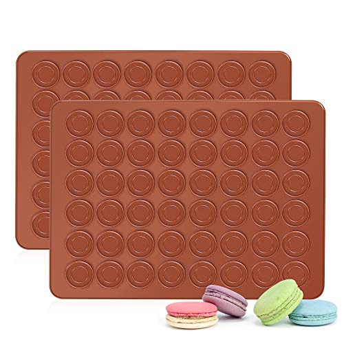 2 Pack Macaron Silicone Mat, 48 Cavity Silicone Baking Mat, Non-Stick Macaroon Baking Mold, Macaroons Baking Sheets