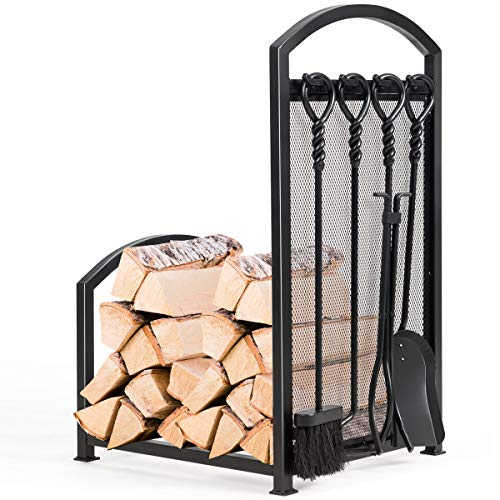 Goplus Firewood Log Rack with 4 Tools, Fireplace Log Storage Holder Set with 5 Pieces Lumber Stacker Set Includes Tong, Brush, Shovel, and Poker for Outdoor or Indoor Use