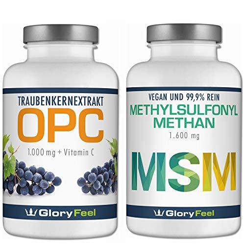 OPC Traubenkernextrakt + MSM organischer Schwefel - 360 + 365 Kapseln - 1000mg OPC + 1600mg MSM Methylusfonylmethan pro Tagesdosis - 6 Monate Voll-Versorgung - Hergestellt in Deutschland