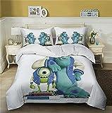 DZSCW Ropa de cama infantil de 135 x 200 Monsters University-Anime con cremallera, juego de 2/3 piezas, regalo para niños/niñas, funda de almohada 80 x 80/50 x 75 cm (8,220 x 240 cm + 50 x 75 cm x 2)