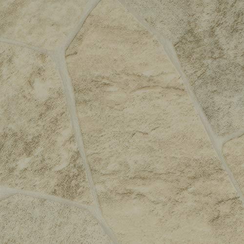 BODENMEISTER BM70522 Vinylboden PVC Bodenbelag Meterware 200, 300, 400 cm breit, Fliesenoptik Steinoptik hell creme weiß