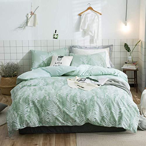 Duvet Cover Set Bettwäsche mit tropischen Pflanzen, modern, smaragdgrün, blau, Dschungelblätter, Zweige, Blumendruck, 100 % Baumwolle, Kingsize, Dusty Green
