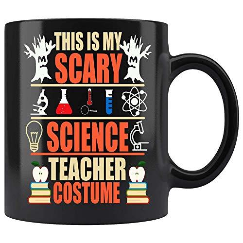 N\A Personalizar Tazas Amigos Este es mi Disfraz de Profesor de Ciencias Aterrador Taza de caf Negro