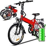 Elektrofahrräder 36V 8AH Lithium Batterie Faltrad MTB Mountainbike E-Bike 7 Speed Fahrrad Intelligence Elektrofahrrad (Rot)