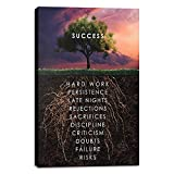Inspirational Canvas Wall Art Motivational Painting Success Tree Picture Motivation Entrepreneur Quotes Posters Prints Artwork Decorations for Home Office School - 24'Wx36'H