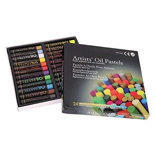 Pasteles al óleo, 24 piezas no tóxicas, pintura al óleo blanda, palo, fluorescente, mezcla metálica, lápices de colores para niños, artistas y profesionales