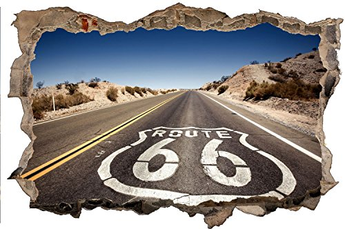 Route 66 Road Straße USA Wandtattoo Wandsticker Wandaufkleber D0432 Größe 40 cm x 60 cm