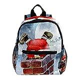 Mochila preescolar para niños y niñas con correa para el pecho, color blanco y rosa Chimenea de escalada de Papá Noel blanca 25.4x10x30 CM/10x4x12 in