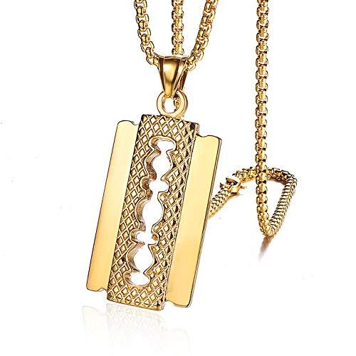 Anhänger Halskette Hip Hop Rock Titan Edelstahl RasierklingeAnhänger & Halskette Für Männer Friseur Schmuck Gold Silber Farbe Gold