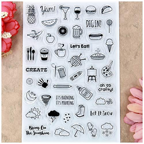 Kwan Crafts Life Icons Clear Stamps for Card Making Decoration and DIY Scrapbooking