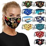 10 Stück Mundschutz 3D Cartoon Druck Maske Weihnachtsmasken für Erwachsene Atmungsaktive Gesichtsmaske Waschbare Baumwollmasken Erwachsene Halstuch Atmungsaktiv Bandana Winddicht Scarf
