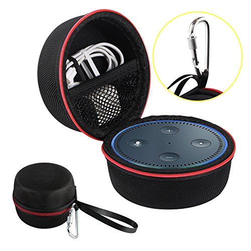 Echo Dot Case, Portable Carrying Travel Bag Protective Hard Case Cover for use with Amazon Echo Dot (2nd Generation) with Carabiner (Fits USB Cable and Wall Charger), Nylon-Black (Red Zipper)