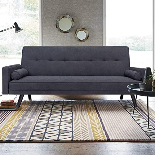 JUMMICO Mid-Century Futon Sofa Bed Modern Fabric Couch Convertible Reclining Sofa Bench Seat with 2 Cushion for Living Room and Office, 80 inch Length (Blue Grey)