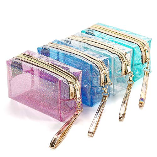 4Pcs Waterproof Cosmetic Bags PVC Transparent Zippered Toiletry Bag with Handle Strap Portable Clear Makeup Bag Pouch for Bathroom, Vacation and Organizing