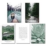 Landish rahmenlose skandinavischen Boot See Leinwand Poster NaturStil Landschaft Wand Kunstdruck Gemälde dekorative Bild Wohnzimmer Dekor, 5 Stück Set, 30x40cm kein Rahmen