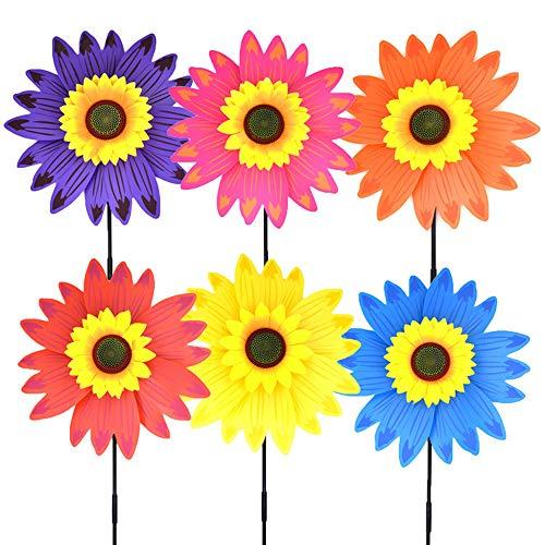 MCLJR Windmühlen Für Kinder,Sonnenblume DIY Windrad, Mischfarben Windräder (6Er Pack) Für Kinder Zum Spielen Oder Als Zarte Dekoration, Geeignet Für Garten, Party, Outdoor