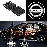 Nissan 日産 2本のワイヤレスカードアは、歓迎のレーザープロジェクターのロゴライトゴーストシャドーライトランプのロゴ(ミニ)