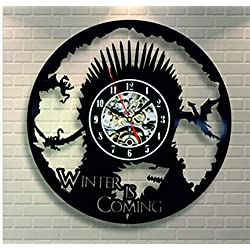 Kovides Unique Gift Winter is Coming Vintage Wall Clock Game of Thrones Wall Clock GOT Serial Art Retro Vinyl Record Clock Birthday Gift Idea for Fan