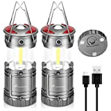 Moobibear 3 in 1 Rechargeable COB LED Camping Lantern Flashlights LED Lanterns with Magnetic and Hook Base 4 Modes Waterproof Collapsible Lamp for Tent Hiking Power Outage Emergency 2 Pack