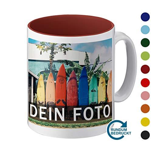 Tasse mit individuellem Foto gestalten (hochwertiger Druck, individuelle Fototasse, innen farbig, mit personalisierbarem Foto im Panoramaformat, spülmaschinenfest) (Panorama, weinrot)