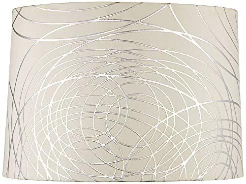 Off White Drum Lamp Shade Modern Silver Circles 15x16x11 (Spider) - Springcrest