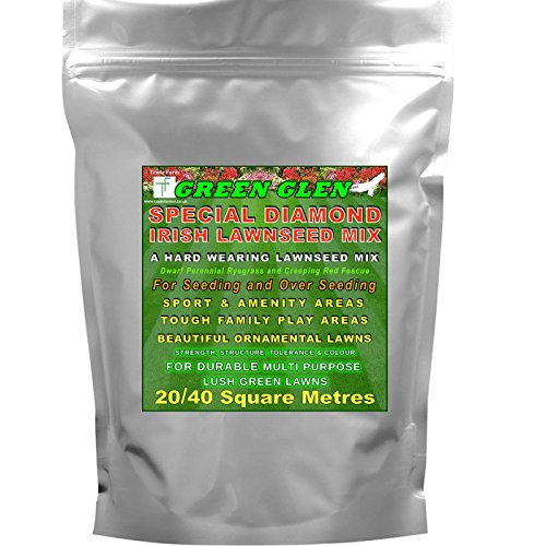 Hard Wearing Grass Seed 20-40 SQ Metres - Green Glen Special Diamond Lawnseed Mix for Hardy Ornamental...