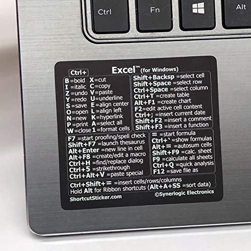 """SYNERLOGIC Microsoft Excel (for Windows) Cheat Sheet Reference Guide Keyboard Shortcut Sticker, Material Vinyl, Temporary Adhesive, Size 2.8""""x2.5"""" (Black)"""