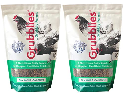 Grubbly Farms 2 Pack of Grubblies Non-GMO USA-Grown Oven-Dried Black Soldier Fly Grubs for Backyard Chickens and Other Fowl, 8 Ounces Each, More Calcium Than Mealworms