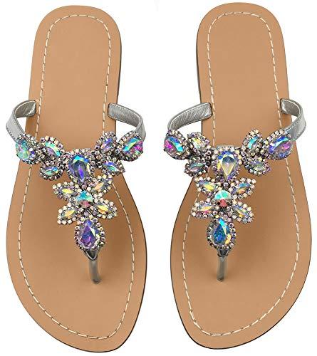 Hinyyrin Women's Summer Rhinestone Bling Wedding Sandals,Glitter Jeweled Sandals,Dressy Flat Sandals,Beach Flip-Flops, Size 7.5 Silver