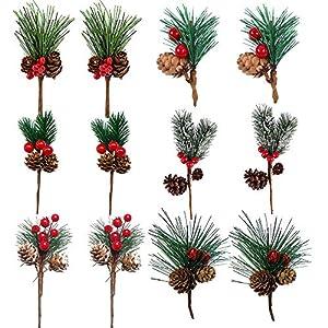 Artificial Pine Picks Christmas Pine Needle Small Berries Pinecones Christmas Tree Picks and Sprays for Xmas Flower Arrangements Wreaths Decor (12PCS)