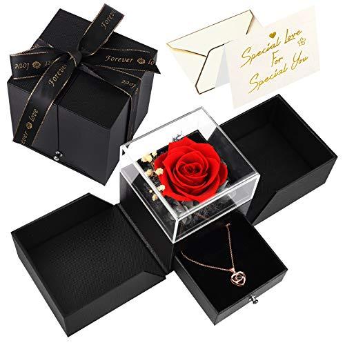 Joyhoop Ewige Rose Geschenkbox, Rote Rosenbox mit Kette und Grußkarte, Rose Geburtstag Geschenke für Frauen, Mama, Freundin, Schwester Valentinstag, Muttertag, Hochzeitstag, Weihnachten