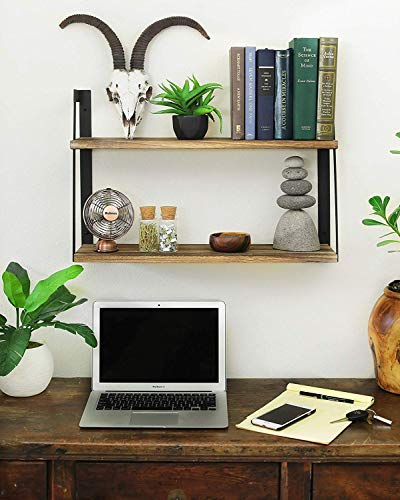 UNHO壁掛けラック2段ウォールシェルフ鍵穴アイアン木製cd飾り棚キッチン壁面収納おしゃれ賃貸インテリアオープンシェルフ
